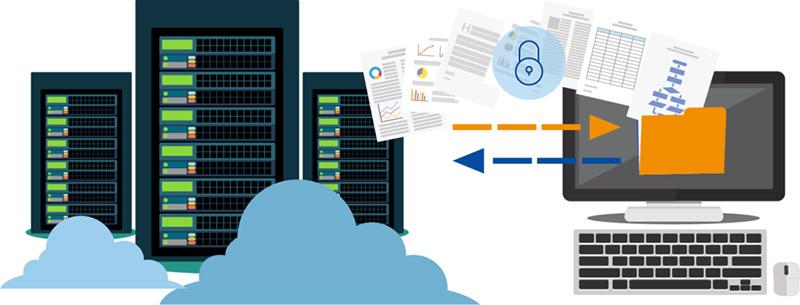 Online-Backup Grafik einfache Rücksicherung Redundante Aufbewahrung epcan Cloud Dienste